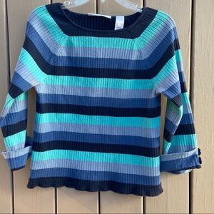 Liz Claiborne First Issue boat neck stripe sweater